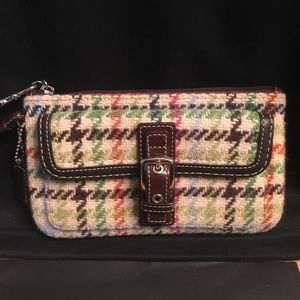 Coach plaid wristlet wallet clutch brown leather